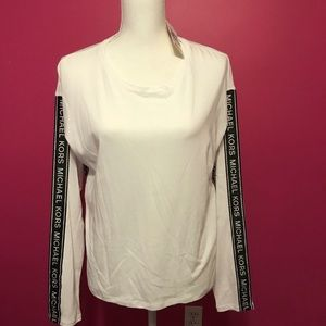 NWT Michael Kors Logo Stretch-Viscose Pullover